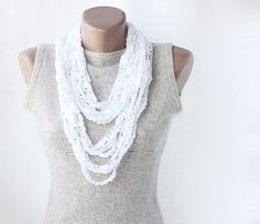 White summer scarf crochet necklace  spring by violasboutique, $9.00