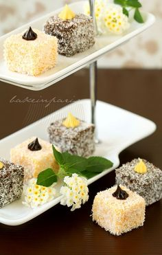 Chocolate & passion fruit lamington I most likely would not be able to pull these off, but how pretty are they? Lamington Cake Recipe, Lamingtons Recipe, Aussie Food, Australian Food, Sweet Recipes, Cake Recipes, Dessert Recipes, Mini Desserts, Just Desserts