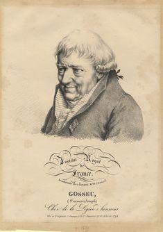 """François-Joseph Gossec (1734-1829), lithograph (1820), by Julien Boilly (1796-1874), published in """"Iconographie de l'Institut Royal de France""""."""