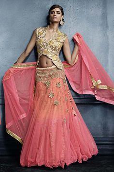 Pink Net Bridal Lehenga