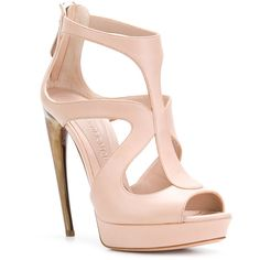 Alexander McQueen Horn Heel sandals ($790) ❤ liked on Polyvore featuring shoes, sandals, pink strappy sandals, strappy platform sandals, open toe sandals, leather sandals and pink sandals