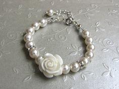 Flower Girl Gift Swarovski Pearl Bracelet by ThreeMineBlessings, $14.00