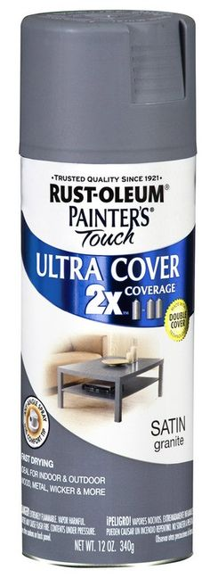 RustOleum Satin Spray Paint in Granite (best gray color out there!)