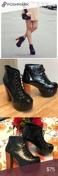 """Jeffrey Campbell Lita Booties☘️ Jeffrey Campbell black patent leather Lita booties. Worn once and in excellent condition. No box. Heel is 5"""" with a 2"""" platform. Smoke free home. No trades. Jeffrey Campbell Shoes Ankle Boots & Booties"""
