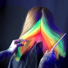 Color videos Trending Rainbow Hair colour ❤️ Amazing rainbow hair colour style who else wants to try this cool style? Hair Color Purple, Hair Dye Colors, Cool Hair Color, Ali Grace Hair, Pelo Multicolor, Creative Hair Color, Underlights Hair, Neon Hair, Rides Front