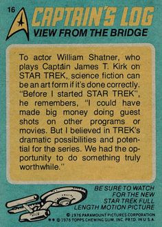 "gameraboy: ""Star Trek trading card #16 - View from the Bridge """