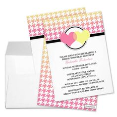 Ombre Hearts Yellow Pink Houndstooth Bridal Shower Invitations