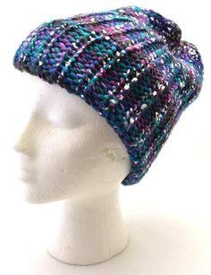 Mudd Women Dark Blue Purple Green Pink Shiny Beanie Hat Fashion 6893