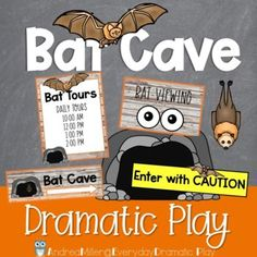 EEEK! Bats! This dramatic play bat cave is perfect for your fall dramatic play or Halloween dramatic play area. Preschool, prek, and kindergarten students will love learning all about bats with this bat inspired dramatic play center. Let them buy tour tickets, search for bats, and record their findings. The bat cave dramatic play center is a great addition to a fall theme or Halloween theme or study on bats. Imaginations will sore with these creative play printables and a few extra items. Halloween Theme Preschool, Preschool Classroom, Preschool Crafts, Halloween Themes, Kindergarten, Dramatic Play Themes, Dramatic Play Area, Dramatic Play Centers, Spring Theme