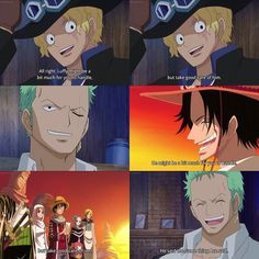 Ace and Sabo departed saying the same thing... #Luffy #ASL -but just look at how happy Zoro looks to have heard it.