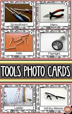 Looking for materials to help students learn basic nouns? Develop their vocabulary skills by using photo flashcards which are perfect for speech therapy, special education, autism, ELL, and Preschool. Click to view this tools vocabulary set and to download a free guide for flashcard games and activities!
