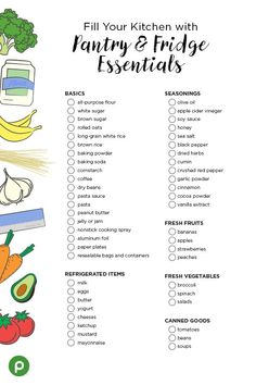 Printable Kitchen Pantry Essentials Shopping List - Moving in to a new home? Time to stock the pantry and refrigerator with all the essentials.