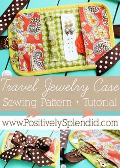 This Travel Jewelry Case at Positively Splendid would make a perfect holiday gift! Complete step-by-step tutorial and free PDF pattern included. #sewing #handmadegifts