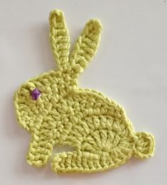 Crochet a cute bunny rabbit applique motif for Easter or for children's items. Step by step instructions on video and a close-up photo of the crochet stitches.