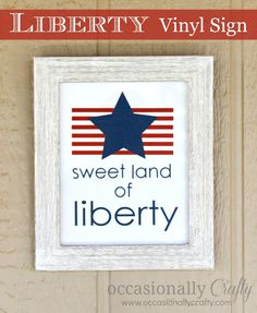 Occasionally Crafty: Land of Liberty Framed Vinyl