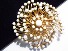 Vintage White Rhinestone Pinwheel Brooch by darsjewelrybox on Etsy