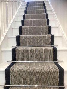 Roger Oates Stair Runner in Dart Midnight with Premier Satin Nickel Stair Rods Stair Carpet Rods, Stairway Carpet, Stair Rods, Carpet Stairs, Hallway Carpet Runners, Cheap Carpet Runners, Stair Runners, Staircase Remodel, Staircase Makeover