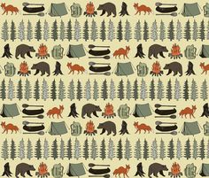 Super cute for closet & shelf liners for boys room {Camping in the Wild wallpaper by papersparrow on Spoonflower}