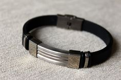 Free Shipping  Men's stainless steel and black by Retrospectvty