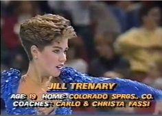Jill Trenary, figure skater, 1988.   80s wedge haircut