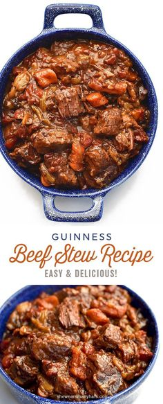 This Guinness Beef Stew Recipe makes a hearty meal that is the perfect comfort food for a cold night. | http://shewearsmanyhats.com