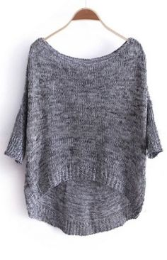#SheInside Grey Three Quarter Length Sleeve Dipped Hem Jumper Sweater