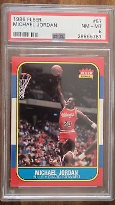sports shoes f6d7a 890ef 1986 Michael Jordan Fleer RC Rookie  57 PSA 8 Lighthouse Label NM-MT Near  Mint