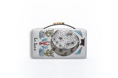 Tarot pouch in grey lambskin embroidered with the moon card -  Dior