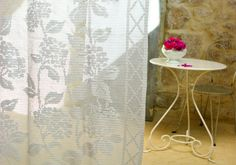 Flower curtain crochet project made with Anchor Freccia