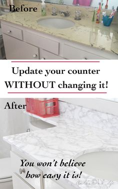 How to update old countertops with Marble contact paper