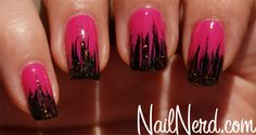 Angry Tipped nails (pink and black nails) by NailNerd
