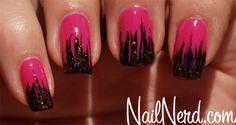Angry Tipped nails (pink and black nails) by NailNerd