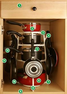 "Pantree Cookware Organizer $20.00 sold only on Pantree.com    13"" W and 19""H  Double base cabinets fit 2 organizers   holds14 pieces of cookware including 4 lids.    • PANTREE™ Cookware Organizer fits easily into standard base cabinets (15""w X 24""h X 24""d) including those cabinets that have a recessed shelf."
