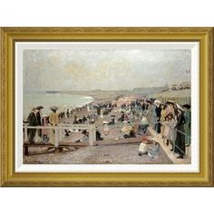 Global Gallery 'The Beach, Dieppe' by Ernest Oppler Framed Painting Print Size: