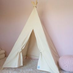 Kids Teepee Play Tent  Natural Cotton Canvas by LittleBraveOnes