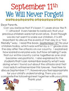Fun in First Grade: September 11 Kindergarten Social Studies, Teaching Social Studies, Student Teaching, Teaching Tools, Teaching Ideas, Teaching Strategies, School Holidays, School Days, School Stuff