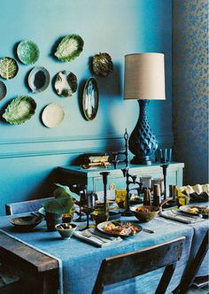 A deep hued moody room by prop stylist Robyn Glaser. Love the savoy leaf plates on the walls Decor, Blue Design, Sweet Home, Interior Inspiration, Blue Decor, Interior Design, Home Decor, House Interior, Design Inspiration