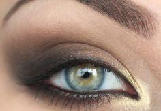 smokey eye with gold + gray