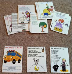Nursery Rhyme / Song flash cards. Guess the song, then sing it in the car all together.