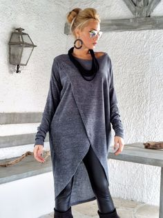 Gray Winter Warm Knitted Asymmetric Blouse / Gray Winter Warm