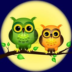 Google Image Result for http://us.123rf.com/400wm/400/400/mirage3/mirage31205/mirage3120500020/13595128-pair-of-fun-cartoon-owls-perched-on-branch-on-a-night-with-full-moon-behind-them.jpg