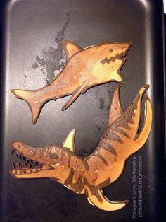 Shark and Liopleurodon. #dinosaur #randombreakfasts