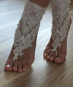 5 pairs of anklets bridesmaid gifts beach shoes by WEDDINGGloves, $200.00