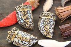"Metallic Tusk: Nepali Mother of Pearl, Brass Pendant /1 Tribal Pendant 2 6/16"" /Gold, Metal Jewelry Making Supplies, / Handcrafted Supply - WomanShopsWorld"