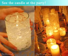 Jeannie, maybe a grouping of candles like this for a center piece? Make your own lace candle holders.use cream or red lace for Valentine's Day, pastels for Easter OR black lace for a Halloween theme. Wedding Centerpieces, Wedding Table, Diy Wedding, Rustic Wedding, Wedding Decorations, Wedding Ideas, Candle Decorations, Christmas Decorations, Wedding Arrangements