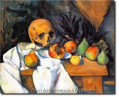 """Still Life With Skull,"" by Paul Cezanne posted from: Memento Mori Group - Cultured Vanitas, Memento Mori, Mandala Fun, Renoir, Monet, Cezanne Still Life, Paul Cezanne Paintings, Cezanne Art, Famous Art Paintings"