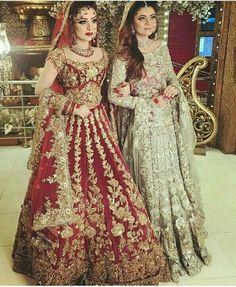Khaki lehenga choli with dupatta. Work - Heavy embroidery work on lehenga, choli and dupatta. Indian Bridal Lehenga, Pakistani Wedding Dresses, Best Wedding Dresses, Indian Dresses, Indian Outfits, Red Lehenga, Lehenga Style, Lehenga Choli, Dress Wedding