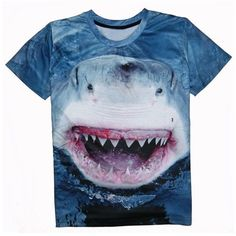 Shark 3D Print Round Neck Short Sleeve T Shirt For Men ($11) ❤ liked on Polyvore featuring men's fashion, men's clothing, men's shirts, men's t-shirts, mens short sleeve t shirts, mens leopard print t shirt, mens patterned shirts, mens short sleeve shirts and mens print shirts