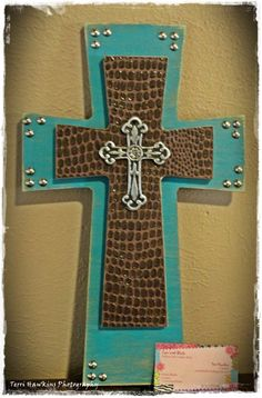 Turquoise with Faux Leather Cross
