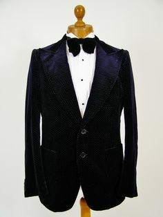 Blue velvet smoking jacket white pindot 40L | Tweedmans Vintage - Mens Vintage Clothing